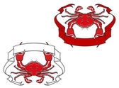 Red crab with ribbon in claws — Stock Vector