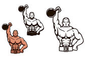Bodybuilder man with dumbbell — Stock Vector