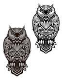 Owl bird tattoo — Stock Vector