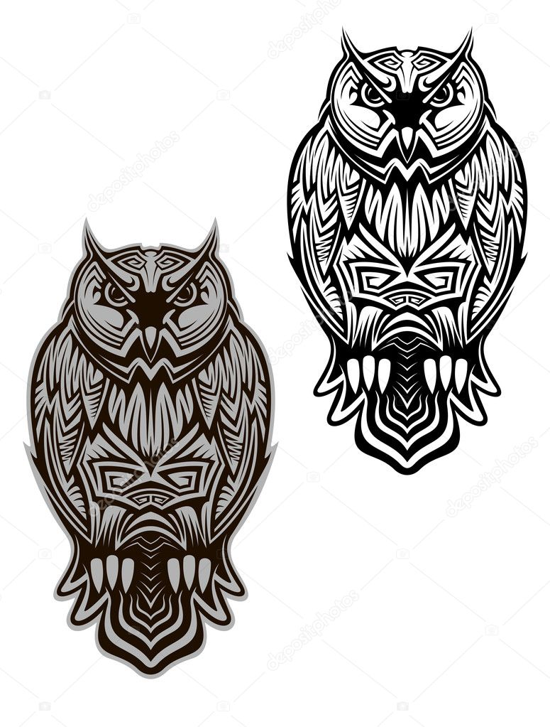 Uil Bird Tattoo Stockvector Seamartini 28175887
