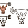 Bodybuilder with barbell — Stock Vector