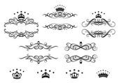 Retro frames set with royal crowns — Stock Vector