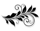 Decorative floral element with shadow — Stock Vector