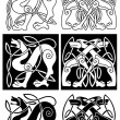 Stock Vector: Wolves and dogs in celtic ornament