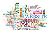 Diseño web e internet nube de etiquetas — Vector de stock