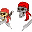 Stock Vector: Pirate skull with sharp sabers
