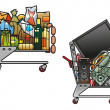 Shopping carts with goods — Imagen vectorial