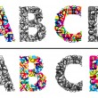 Colorful and monochrome alphabet letters A, B, c and D — Stock Vector #29324961