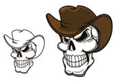 Cowboy skull in hat — Vettoriale Stock