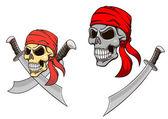 Calavera pirata con sables afilados — Vector de stock