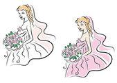 Young pretty bride on wedding ceremony — Stock Vector