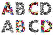 Renkli ve tek renkli alfabesi harfleri a, b, c ve d — Stok Vektör