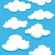 White clouds set on blue sky — Stock Vector