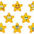 Yellow stars with happy emotions — Stock Vector