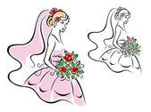 Vacker kvinna i brudklänning — Stockvektor