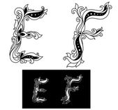 Decorated capital letters E and F — Stock Vector