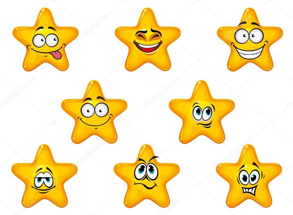 Estrelas Amarelas Com Emoções Felizes