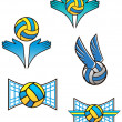 Volleyball sports symbols and icons — Stock Vector
