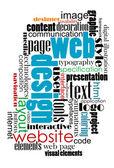 Nube de etiquetas de diseño web e internet — Vector de stock