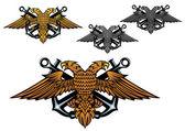 águila heráldica con un ancla en garras — Vector de stock