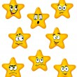 Cartoon stars with different emotions — Stock Vector
