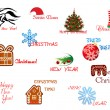 Stock Vector: Christmas and New Year symbols