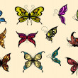 Set of colorful butterflyes — Stock Vector