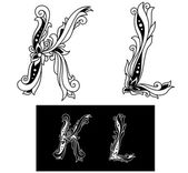Capital letters K and L — Stock Vector