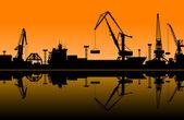 Working cranes in sea port — Stock Vector