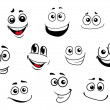 Stock Vector: Funny cartoon emotional faces set