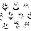 Funny cartoon emotional faces set — Stock Vector