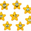 Yellow stars with emotional faces — Stock Vector