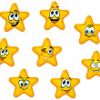 Stock Vector: Yellow stars with emotional faces
