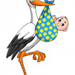 Stock Vector: Stork with newborn baby