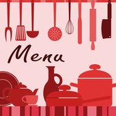 Keukengerei en kookproces — Stockvector