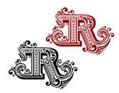 Vintage letter R — Stock Vector