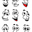 Funny cartoon faces set — Stok Vektör