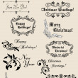 Winter holidays calligraphic elements — Stock Vector