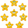Yellow star icons with different emotions — Stock Vector