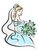 Beautiful bride with flowers — Stock Vector