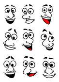 Funny cartoon faces set — Stock Vector