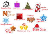 Headlines and icons for Christmas holiday — Stock Vector