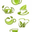 Herbal tea cups with green leaves — Stock Vector