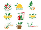 Vegetarian food symbols — Stock Vector