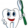 White tooth with tooth-brush — Vector de stock #31918253
