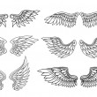 Set of eagle or angel wings — Stock Vector