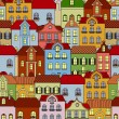 Seamless pattern with retro buildings and houses — Stok Vektör