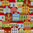 Seamless pattern with retro buildings and houses — Imagen vectorial