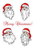 Four cheerful Santa Clouses — Stock Vector