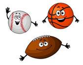 мячи для бейсбола, баскетбола и регби — Cтоковый вектор